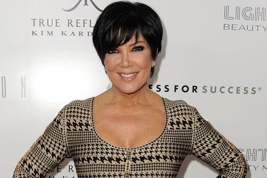 Kris-Jenner-black-and-off-white-dress