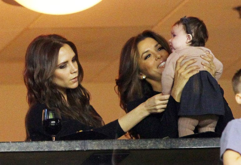 Victoria Beckham with baby Harper and Eva Longoria at LA Galaxy in Carson, CA