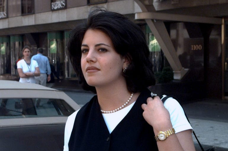 Monica Lewinsky leaving the office of attorney Plato Cacheri