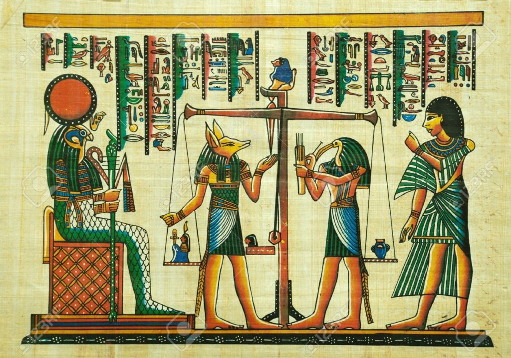 10678401-Egyptian-papyrus-painting-with-elements-of-Egyptian-ancient-history-Stock-Photo