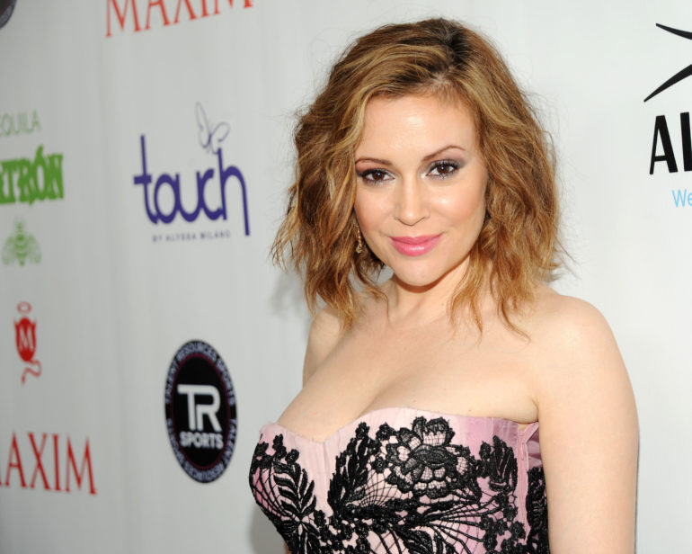"NEW YORK, NY - FEBRUARY 01: Actress and fashion designer Alyssa Milano attends MAXIM Magazine's ""Big Game Weekend"" Sponsored By AQUAhydrate on February 1, 2014 in New York City. (Photo by Ben Gabbe/Getty Images for AQUAhydrate)"