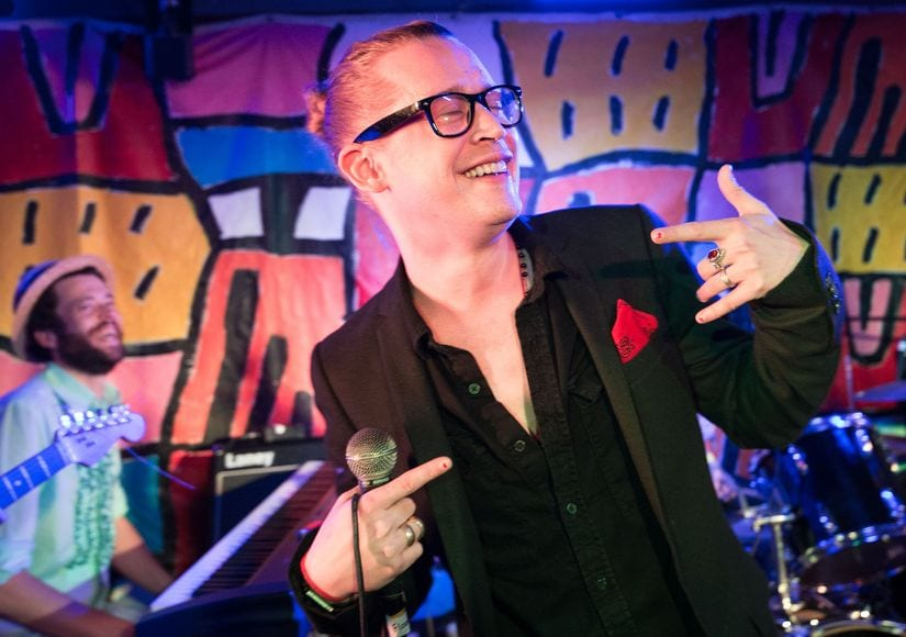 Actor Macaulay Culkin on stage as Special Guest in Cambridge, England