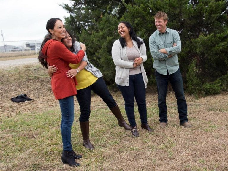 Angela-Silvas-mother-captures-Joanna-Gaines-in-an-embrace-after-seeing-their-newly-renovated-home-by-the-Fixer-Upper-team.-768x576