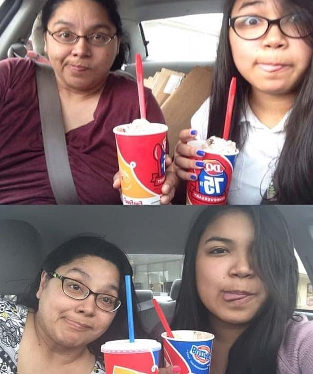 Daughter takes same photo with her mom for 4 years but the