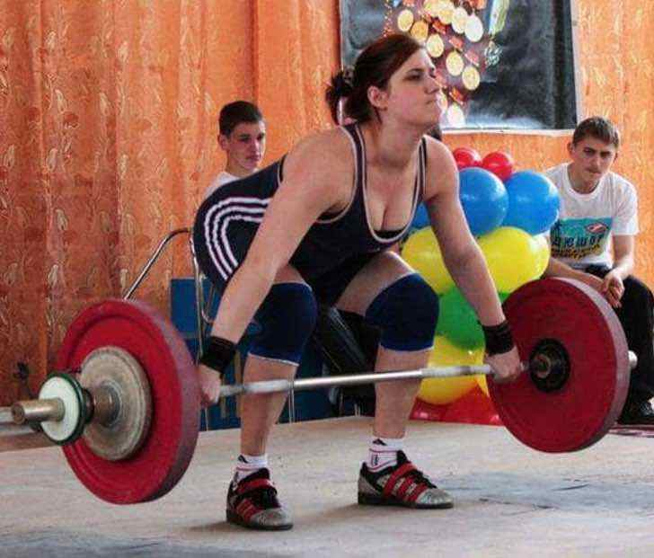 This girl could lift her entire family by 12 but whatever